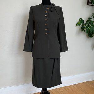 Vintage 80s Giorgio Armani olive skirt suit sz M